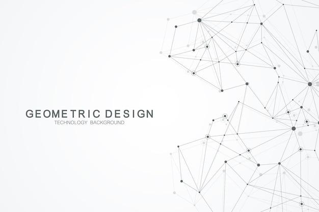 Fondo poligonale astratto con linee e punti collegati. motivo geometrico minimalista. struttura molecolare e comunicazione. sfondo del plesso grafico. scienza, medicina, concetto di tecnologia.
