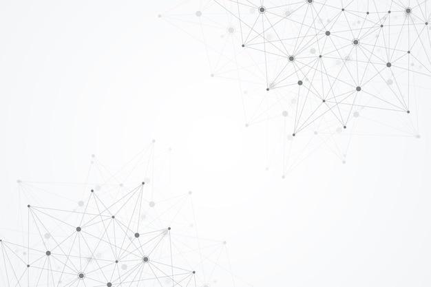 Fondo poligonale astratto con linee collegate e punti molecola modello geometrico minimalista ...