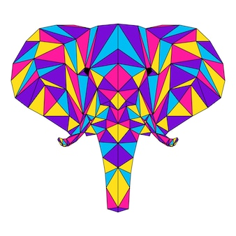 Ritratto poligonale astratto dell'elefante. testa di elefante moderna in poli basso isolata su bianco per carta, cartello di clinica veterinaria, invito a una festa moderna, libro, poster, stampa di borse, t-shirt ecc.