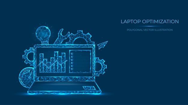 Illustrazione poligonale astratta di ottimizzazione del laptop. low poly concetto di laptop costituito da linee e punti. ottimizzazione del motore di ricerca.