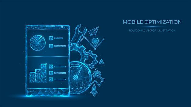 Illustrazione poligonale astratta di ottimizzazione mobile. low poly concetto di telefono cellulare fatto di linee e punti isolati su sfondo blu.