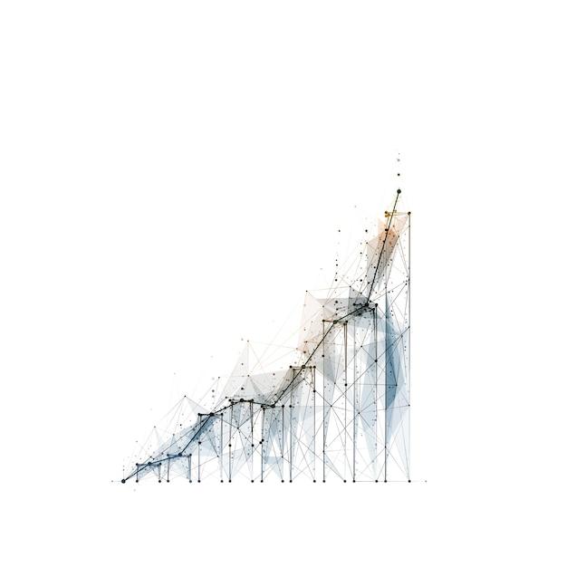 Immagine astratta poligonale del grafico di crescita su sfondo bianco