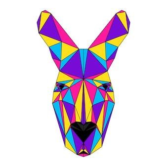 Ritratto poligonale astratto del canguro. moderna testa di canguro low poly isolata su bianco per carta, cartello di clinica veterinaria, invito a una festa moderna, libro, poster, stampa di borsa, t-shirt ecc.