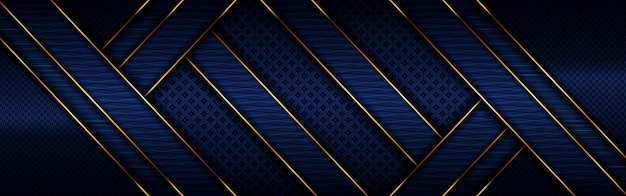 Linea dorata lusso poligonale astratta con sfondo blu navy scuro