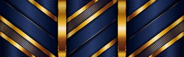 Linea dorata di lusso poligonale astratta con blu navy scuro