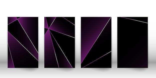 Modello poligonale astratto. design di lusso con copertina scura con forme geometriche argentate. modello di copertina del poligono. illustrazione vettoriale.
