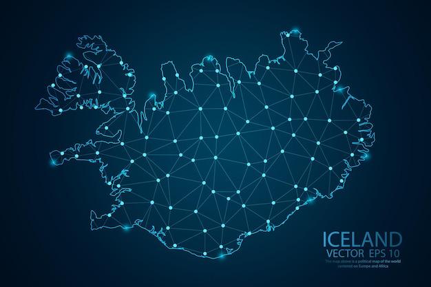 Scale poligonali astratte su sfondo scuro con mappa del vettore di islanda.