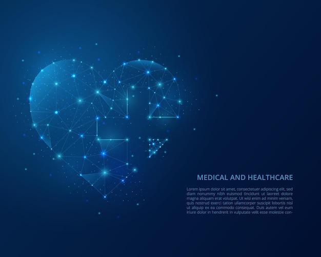Illustrazione astratta wireframe poligonale dell'assistenza sanitaria.