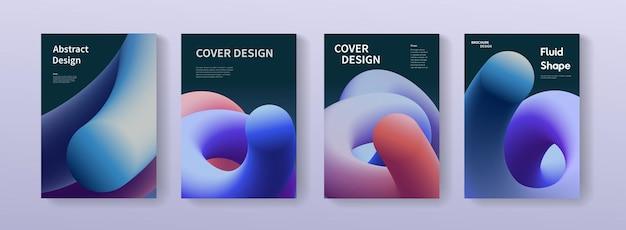 Pacchetto poster astratto con forme fluide. illustrazioni di sfondo sfumato in formato a4 per brochure, banner, stampa, flayer, card.