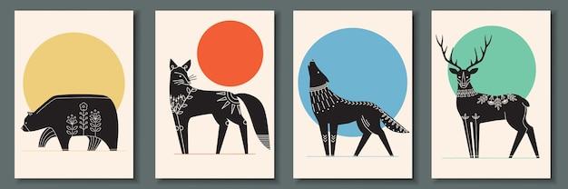 Collezione di poster astratti con animali