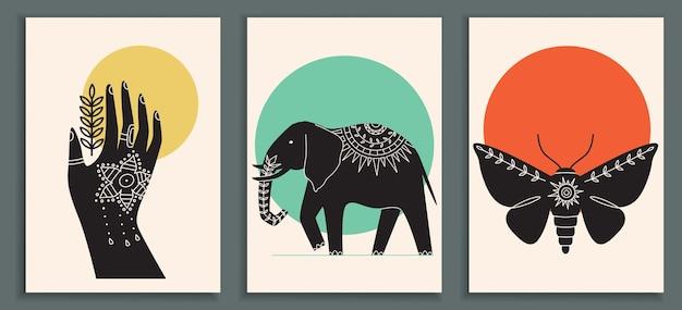 Collezione di poster astratti con mano mehendi indiano