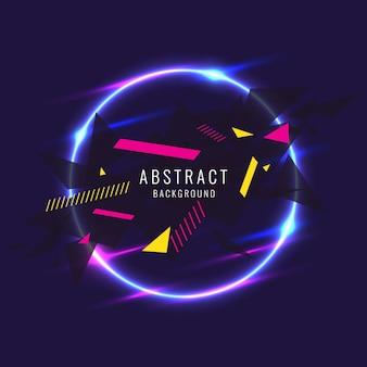 Poster astratto per il posizionamento di forme geometriche di testo e informazioni e bagliore al neon contro