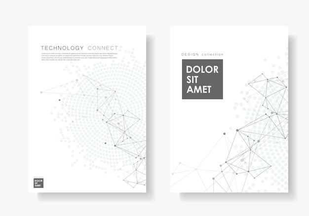 Manifesto astratto con linee e punti collegati Vettore Premium