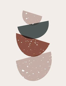 Manifesto astratto con forme geometriche e organiche. disegnati a mano contemporanei