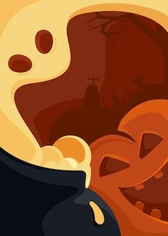 Manifesto astratto con testa di zucca e fantasma. cartolina di halloween in stile cartone animato.