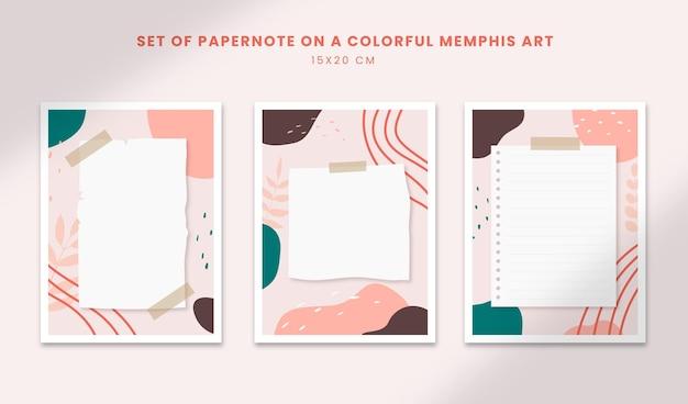 Poster astratti arte forme disegnate a mano copertine con set di papernote su un colorato memphis art