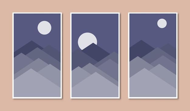Set di poster astratti con catena montuosa di vettore in stile boho di notte con illustrazioni di luna