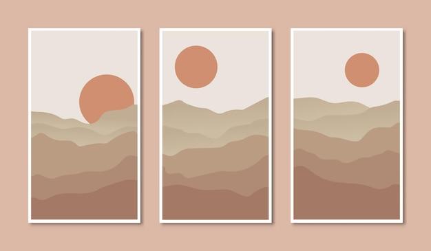 Set di poster astratti con una catena montuosa vettoriale in stile boho a mezzogiorno con illustrazioni del sole