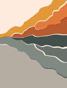 Manifesti astratti raffiguranti la natura - montagne e fiume.