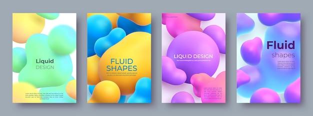 Manifesti astratti con sfere e chiazze fluide 3d che scorre. design di forme liquide morphing. insieme moderno del fondo di vettore delle bolle e delle macchie della pittura