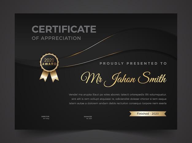 Certificato di apprezzamento premio astratto
