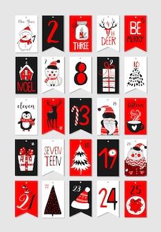 Collezione di etichette stampabili astratte per natale e capodanno. calendario dell'avvento. illustrazione vettoriale. buone feste