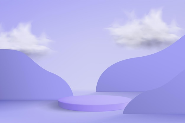 Sfondo viola astratto con podio vuoto e nuvole sullo sfondo