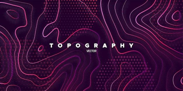 Astratto sfondo viola con rilievo topografico lineare