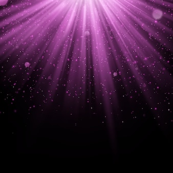 Effetto di sovrapposizione viola astratto. oggetto luccicante con sfondo di raggi. luce bagliore che cade e bagliore leggero. scena di faretti.