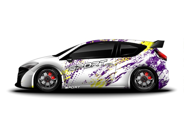 Auto sportiva da corsa astratta per design adesivo decalcomania e livrea del veicolo