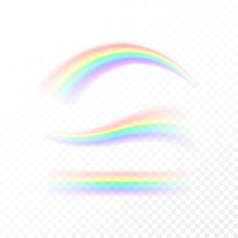 Arcobaleno astratto impostato in diverse forme. spettro di luce, sette colori isolato su sfondo bianco isolato