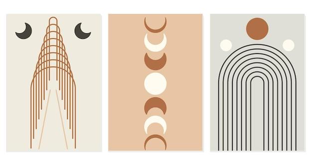 Arcobaleno astratto e sole e fasi lunari. stile boho moderno. sfondo minimalista lineare geometrico. forma organica in equilibrio. illustrazione vettoriale.