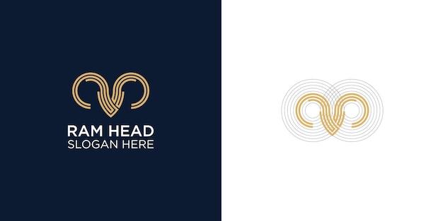 Modello di progettazione del logo astratto della testa di ariete