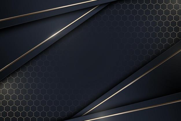 Strisce blu scuro realistiche astratte con sfondo linee dorate vector