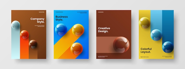 Composizione del modello dell'opuscolo aziendale di sfere realistiche astratte