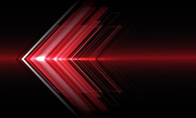 Velocità di direzione della luce rossa astratta della freccia sul fondo moderno di progettazione futuristica di tecnologia nera.