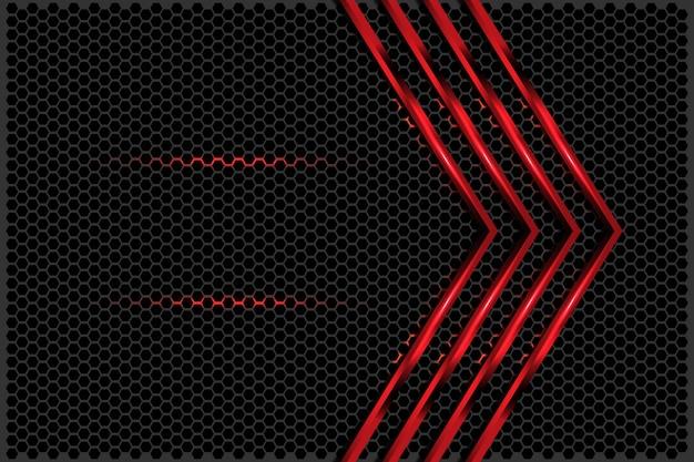 Freccia rossa astratta metallice con esagono