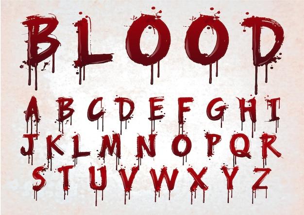 Alfabeto rosso sangue astratto.