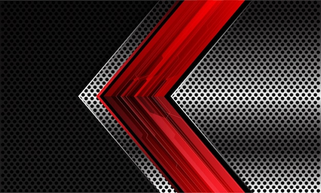 Direzione della freccia cyber del circuito rosso astratto sul disegno della maglia del cerchio metallico nero argento