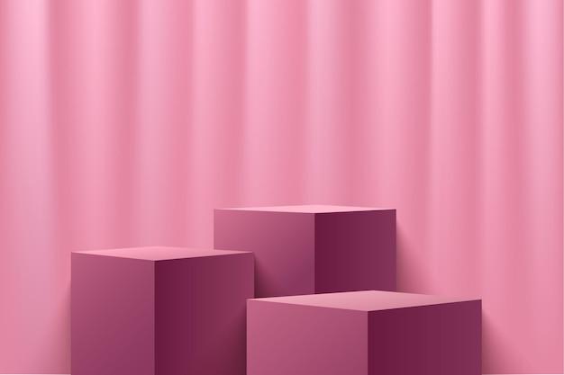 Esposizione astratta del cubo rosso per la presentazione del prodotto