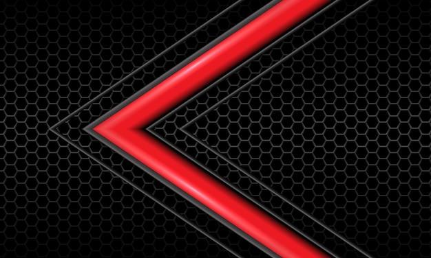 Freccia grigia lucida rossa astratta direzione esagono scuro maglia nera tecnologia futuristica di lusso vettore