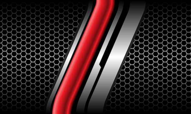 Linea d'argento lucida rossa astratta cyber grigio esagonale maglia nera tecnologia futuristica di lusso vettore