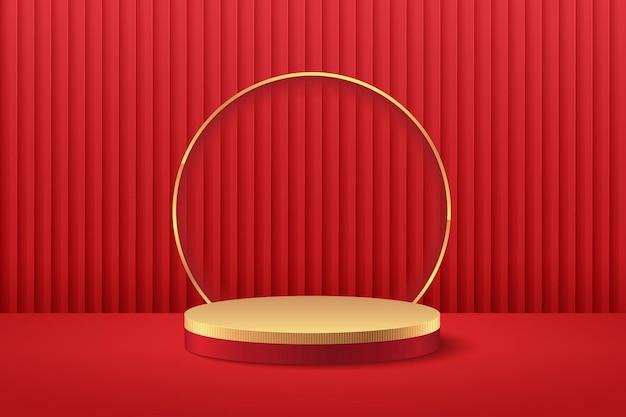 Espositore rotondo rosso e oro astratto per la presentazione del prodotto