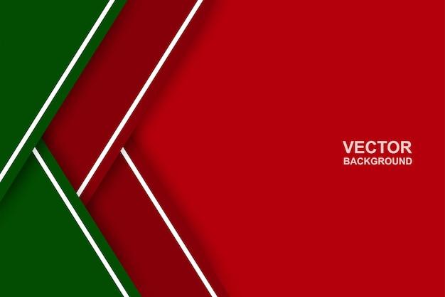 Astratto. fondo di forma di sovrapposizione rosso-verde. colore del tema natalizio. vettore.
