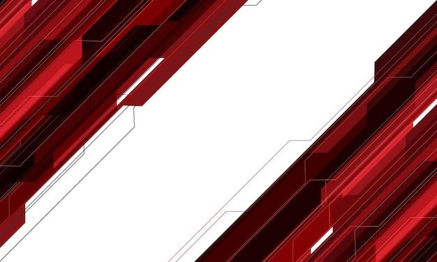 Tecnologia geometrica del circuito cyber grigio rosso astratto futuristica su fondo bianco