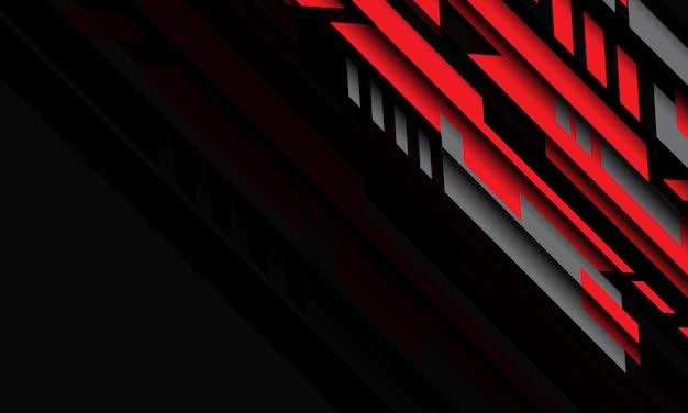Tecnologia futuristica cyber geometrica grigia rossa astratta con il fondo moderno di progettazione dello spazio.