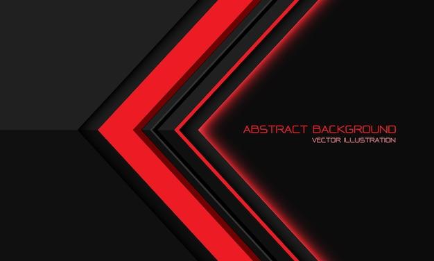 Freccia geometrica direzionale metallica grigia rossa astratta con fondo futuristico moderno di progettazione dello spazio vuoto