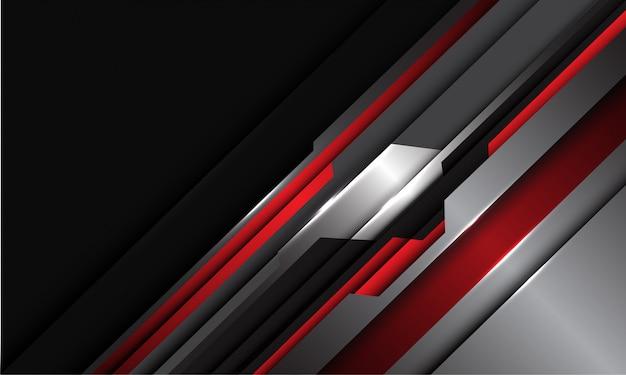 Sovrapposizione geometrica cyber metallica argento grigio rosso astratto sul fondo futuristico moderno di tecnologia di progettazione nera.