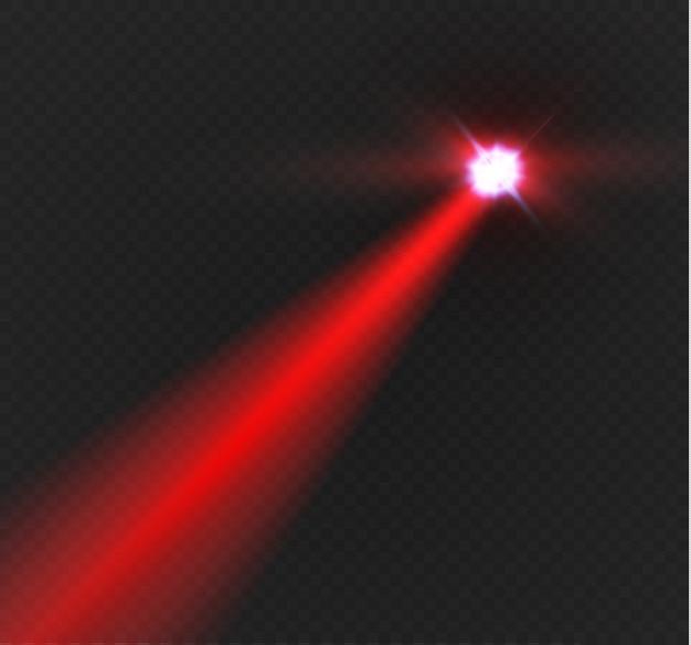 Raggio laser rosso astratto. trasparente isolato su sfondo nero. l'effetto di illuminazione. faretto direzionale.