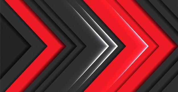 Fondo futuristico moderno grigio scuro di direzione astratta della freccia della luce rossa
